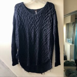 Gray Frayed Free People Sweater